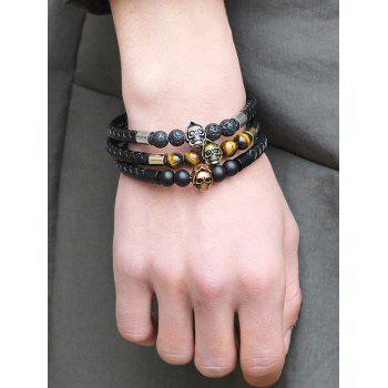 Artificial Leather Rope Braid Skull Beaded Bracelet - SILVER