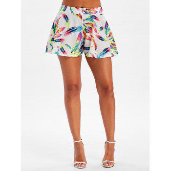 Wide Leg Feather Print Shorts - COLORMIX M