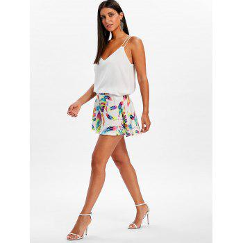 Wide Leg Feather Print Shorts - COLORMIX L