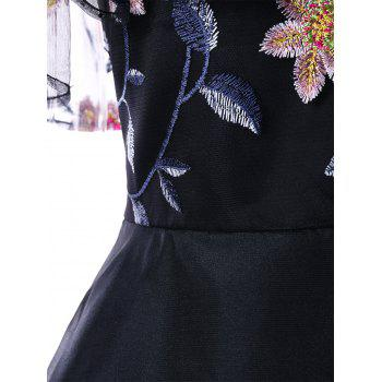 Embroidery Ruffle Off The Shoulder Evening Dress - BLACK L