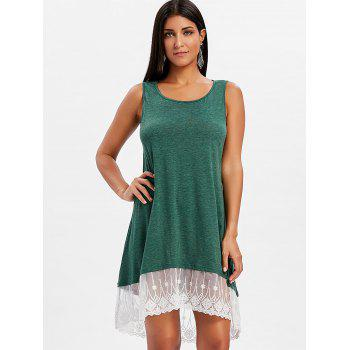 Round Neck Lace Panel Shift Dress - MEDIUM SEA GREEN XL