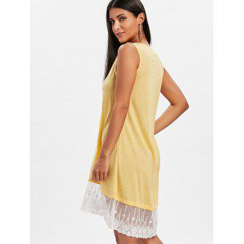 Round Neck Lace Panel Shift Dress - YELLOW L
