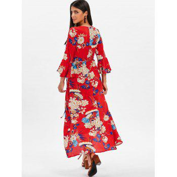 Bell Sleeve Floral Wrap Maxi Dress - RED 2XL