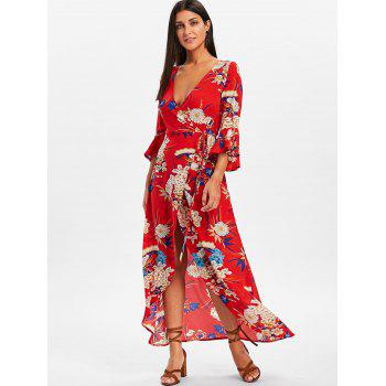 Bell Sleeve Floral Wrap Maxi Dress - RED M