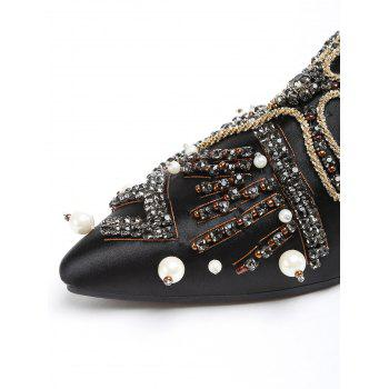 PU Leather Point Toe Rhinestone Embellished Mules Shoes - BLACK 40