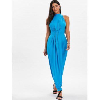 Knot Back Cut Out Maxi Dress - BUTTERFLY BLUE 2XL