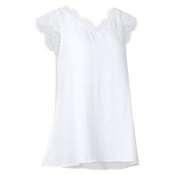 Short Sleeve Scalloped Lace Panel Blouse - WHITE M