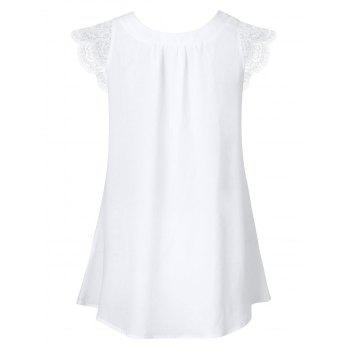 Short Sleeve Scalloped Lace Panel Blouse - WHITE L