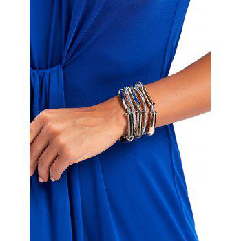 Multi Strand Metal Tube Magnetic Closure Cord Bracelet - SILVER