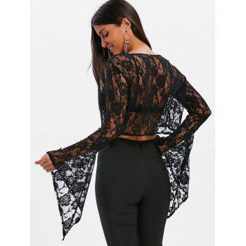 Crop Lace Flare Sleeve Blouse - BLACK XL