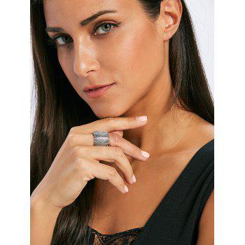 Rhinestone Vertical Bar Stretch Ring - SILVER ONE-SIZE