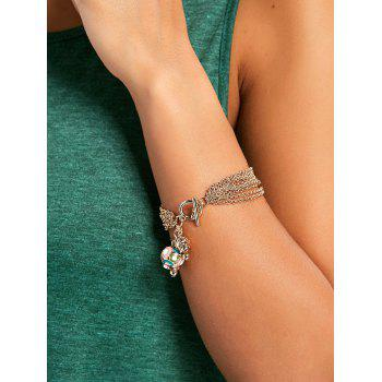 Multilayered Enamel Crown Pendant Bracelet - GOLD