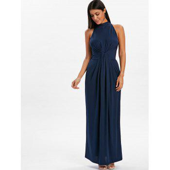 Knot Back Cut Out Maxi Dress - DEEP BLUE L