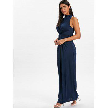 Knot Back Cut Out Maxi Dress - DEEP BLUE XL