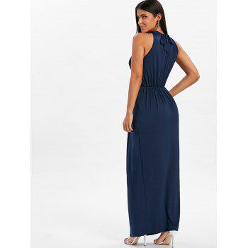 Knot Back Cut Out Maxi Dress - DEEP BLUE 2XL