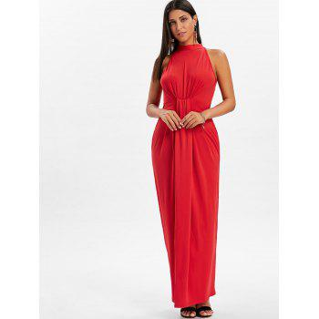 Knot Back Cut Out Maxi Dress - FIRE ENGINE RED L