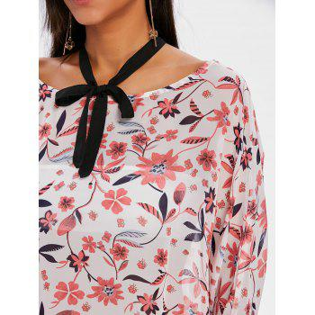 Tie Up High Low Print Blouse - WHITE XL