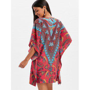 Tribal Print Split Neck Caftan Dress - multicolor M