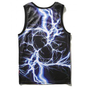 Lightning Pattern Tank Top - BLACK M