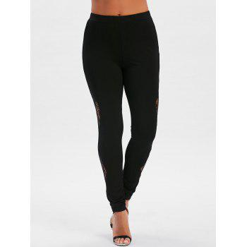 Lace Embellished Fitted Leggings - BLACK XL