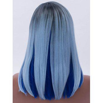 Side Parting Straight Medium Bob Colormix Synthetic Wig - multicolor