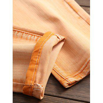 Destroyed Biker Jeans with Straight Leg - CANTALOUPE 36