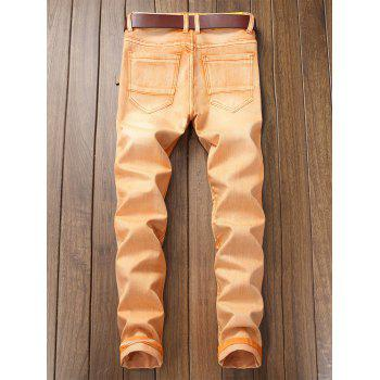 Destroyed Biker Jeans with Straight Leg - CANTALOUPE 34