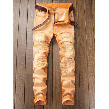 Destroyed Biker Jeans with Straight Leg - CANTALOUPE 32