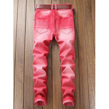 Destroyed Biker Jeans with Straight Leg - ROSE RED 38