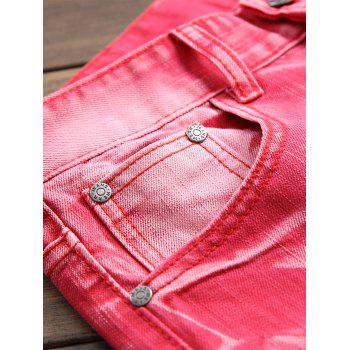 Destroyed Biker Jeans with Straight Leg - ROSE RED 36