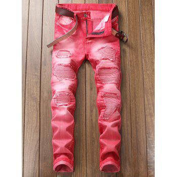 Destroyed Biker Jeans with Straight Leg - ROSE RED 34
