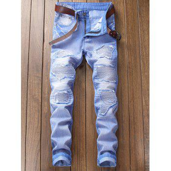 Destroyed Biker Jeans with Straight Leg - SKY BLUE 42