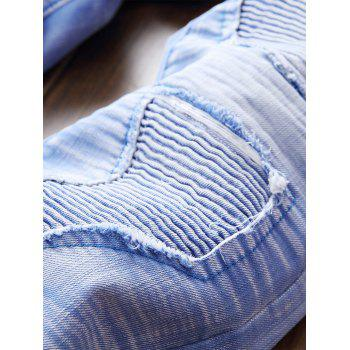 Destroyed Biker Jeans with Straight Leg - SKY BLUE 38