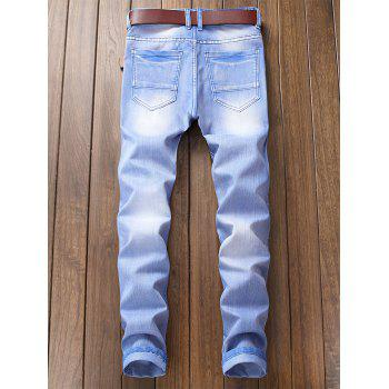 Destroyed Biker Jeans with Straight Leg - SKY BLUE 36