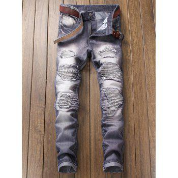 Destroyed Biker Jeans with Straight Leg - SLATE BLUE 38