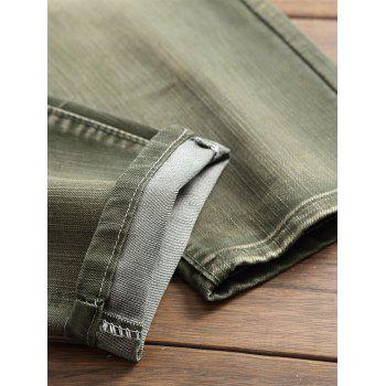 Destroyed Biker Jeans with Straight Leg - ARMY GREEN 42