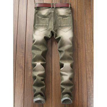 Destroyed Biker Jeans with Straight Leg - ARMY GREEN 38