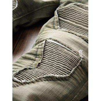 Destroyed Biker Jeans with Straight Leg - ARMY GREEN 36