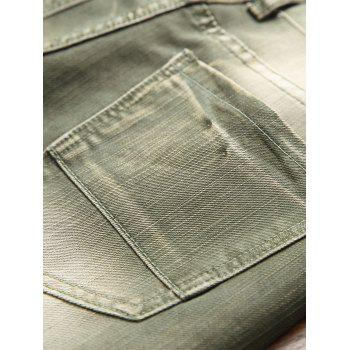 Destroyed Biker Jeans with Straight Leg - ARMY GREEN 32