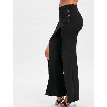 Front High Slit Flare Pants - BLACK XL