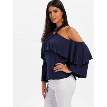 Shoulder Cut Flare Sleeve Blouse - MIDNIGHT BLUE M