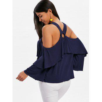 Shoulder Cut Flare Sleeve Blouse - MIDNIGHT BLUE XL