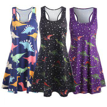 Dinosaur Swing Tank Dress - BLACK XL