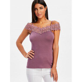 Cold Shoulder Slim Fit T-shirt - PURPLE M