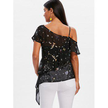 Skew Neck Galaxy Sheer Chiffon Blouse - BLACK M