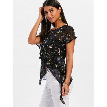 Skew Neck Galaxy Sheer Chiffon Blouse - BLACK XL