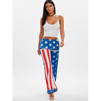 High Rise American Flag Palazzo Pants - ROYAL BLUE XL