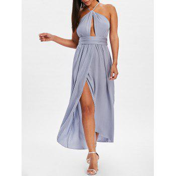 High Slit Backless Maxi Dress - BLUE GRAY S