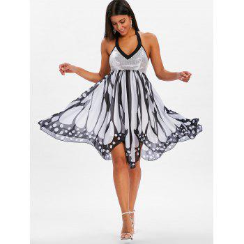 Sequins Backless Butterfly Dress - WHITE L