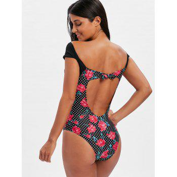 Plunge Rose Floral Polka Dot Swimsuit - BLACK XL